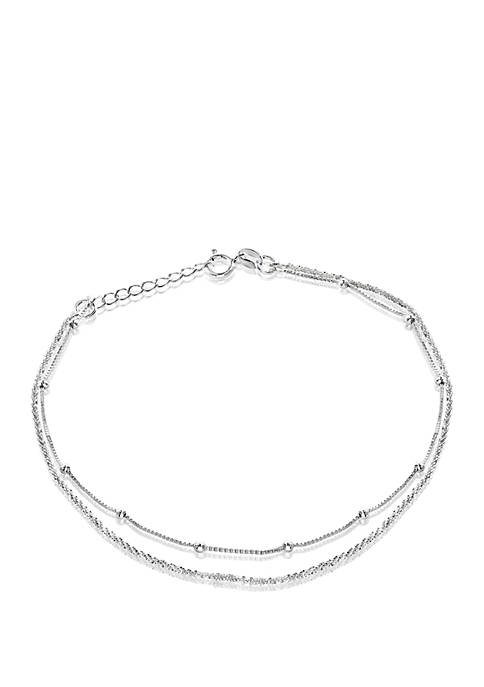 Belk Silverworks Silver-Plated Box Chain Sparkle Anklet