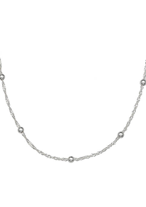Sterling Silver Twisted Singapore Chain Necklace