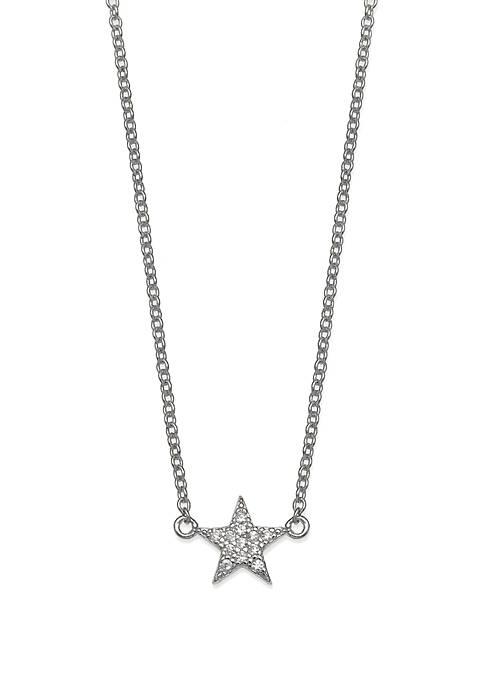 Belk Silverworks Mini Pave Cubic Zirconia Star Necklace