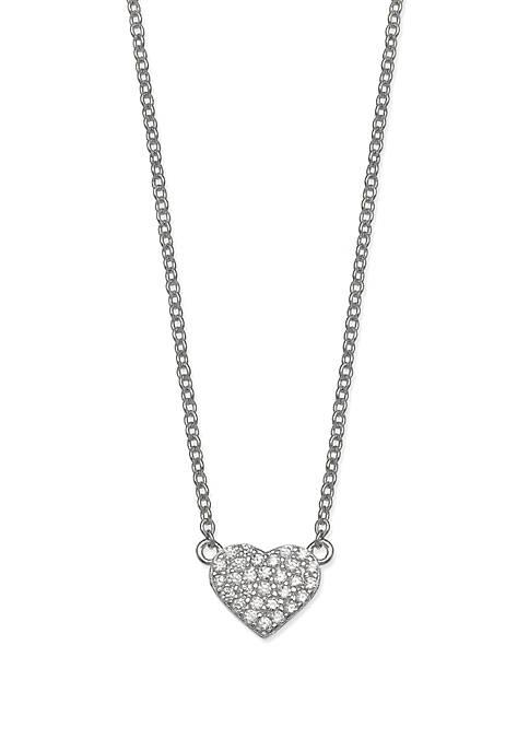 Mini Pave Cubic Zirconia Heart Necklace
