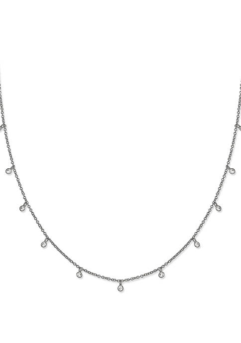 Cubic Zirconia Bezel Station Drops Necklace