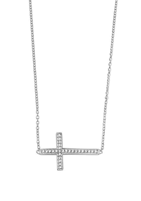 Sterling Silver Sideways Pavé Cubic Zirconia Cross Necklace
