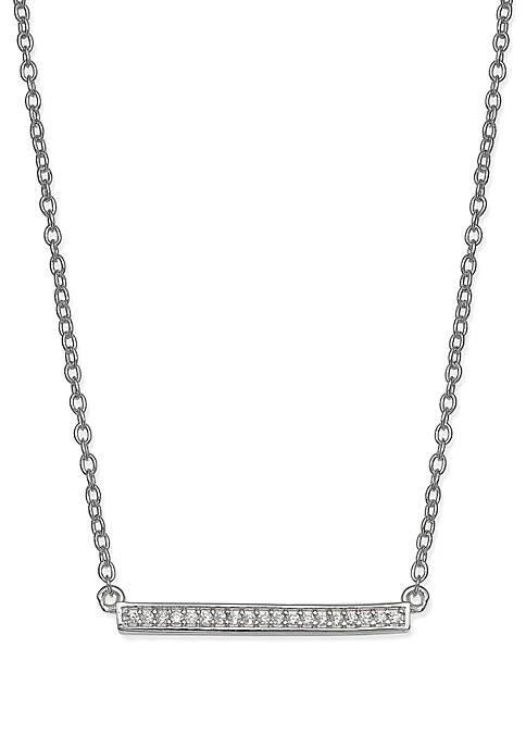 Belk Silverworks Cubic Zirconia Bezel Bar Necklace