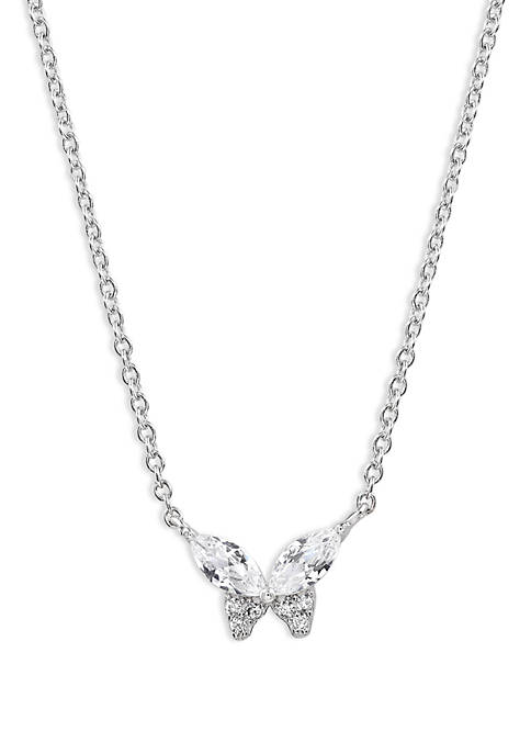 Marquis Cubic Zirconia Butterfly Necklace