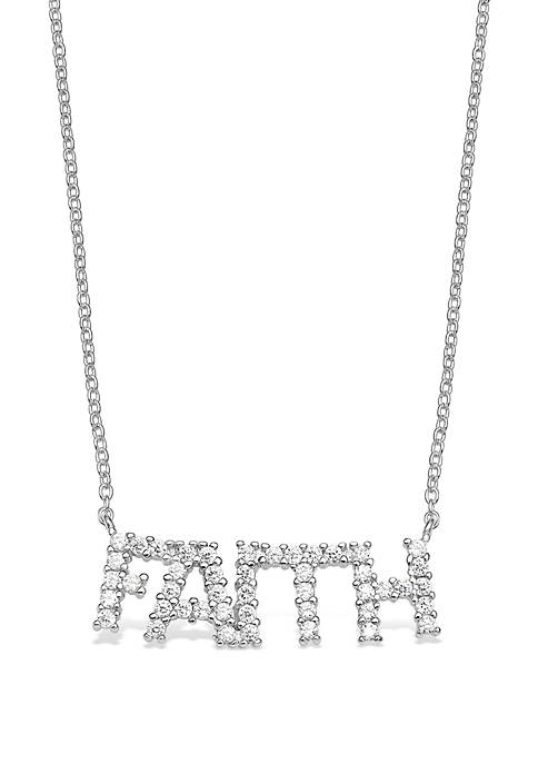 Belk Silverworks Sterling Silver Pave Cubic Zirconia Faith