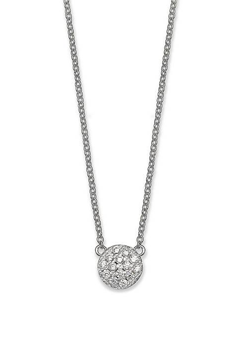 Pave Cubic Zirconia Disc Necklace