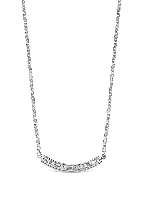 Sterling Silver Cubic Zirconica Bezel Curved Bar Necklace