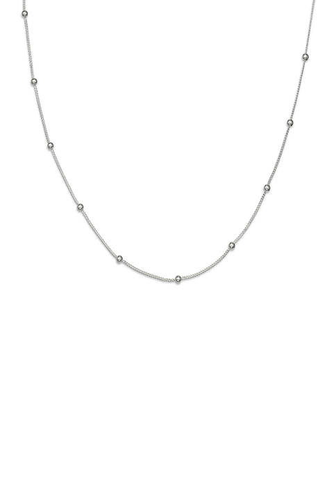 025 Gauge Beaded Curb Chain Necklace in Sterling Silver