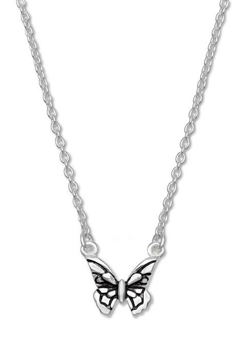 Oxidized Butterfly Pendant Necklace