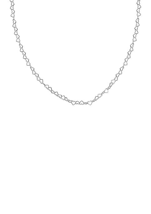 Silver-Tone Heart Link Necklace