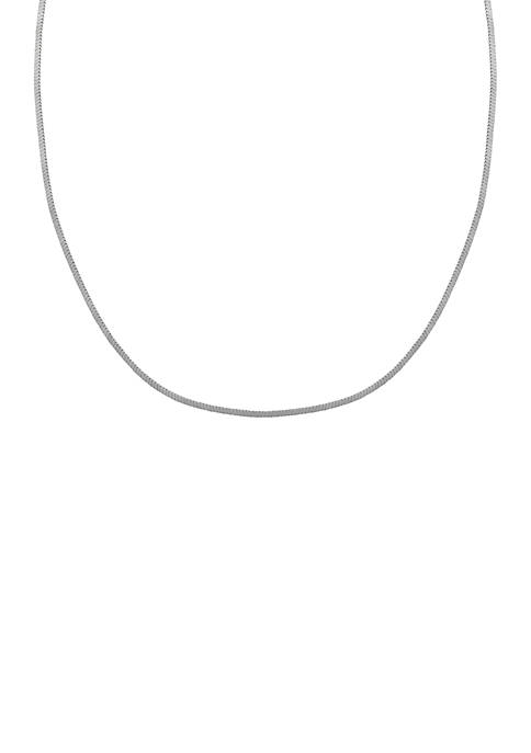 Silver-Tone Square Snake Chain Necklace