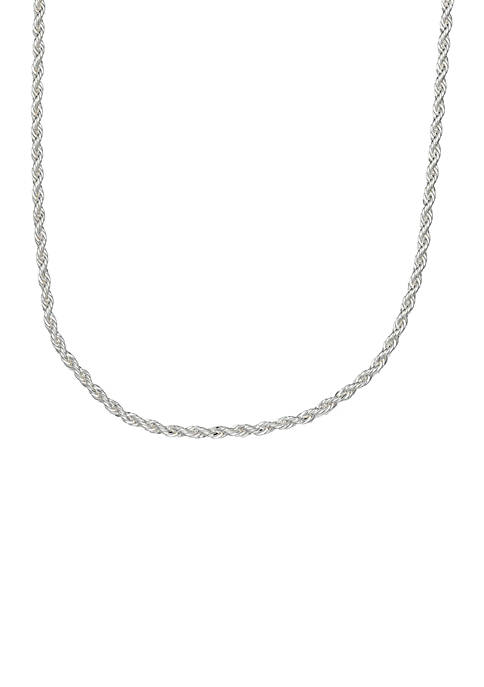 Silver Plated Rope Chain Necklace