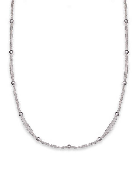Fine Silver Plated Triple Chain Beaded Necklace