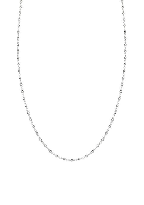 Silver Plated Polished Bead Link Chain Necklace