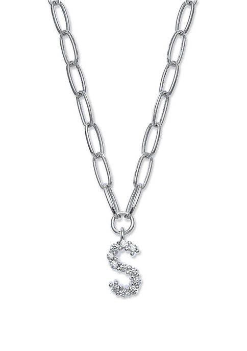 Fine Silver Plated Initial Paper Link Chain Necklace
