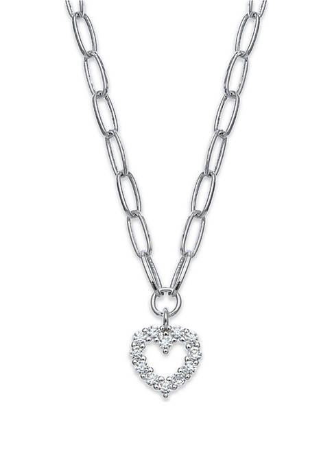 Fine Silver Plated Paper Link Chain Necklace with Pavé Heart