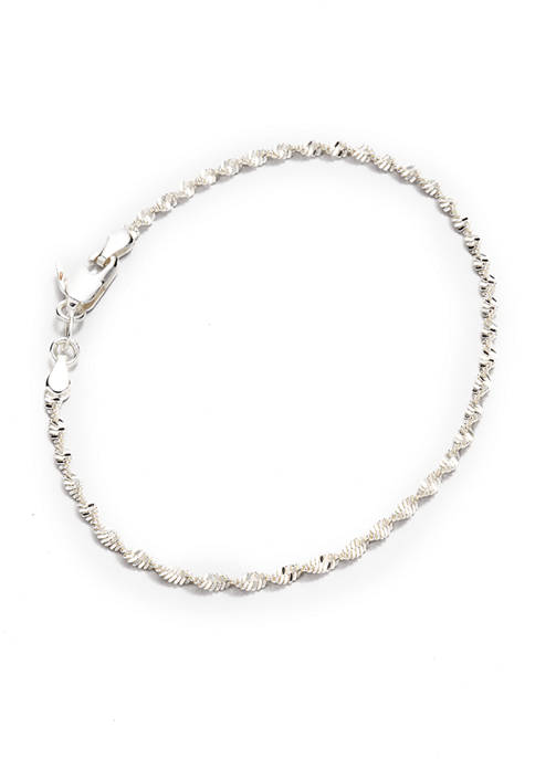 7.5 Inch Twist Chain Necklace in Sterling Silver