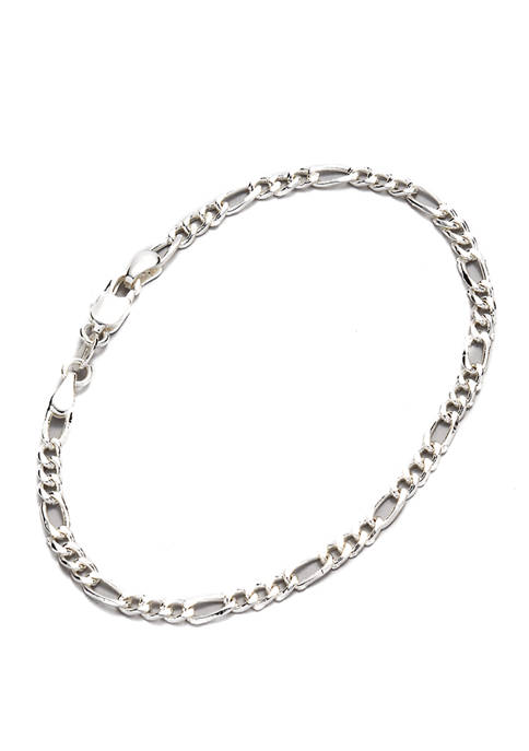 7.5 Inch Figaro Chain Necklace in Sterling Silver