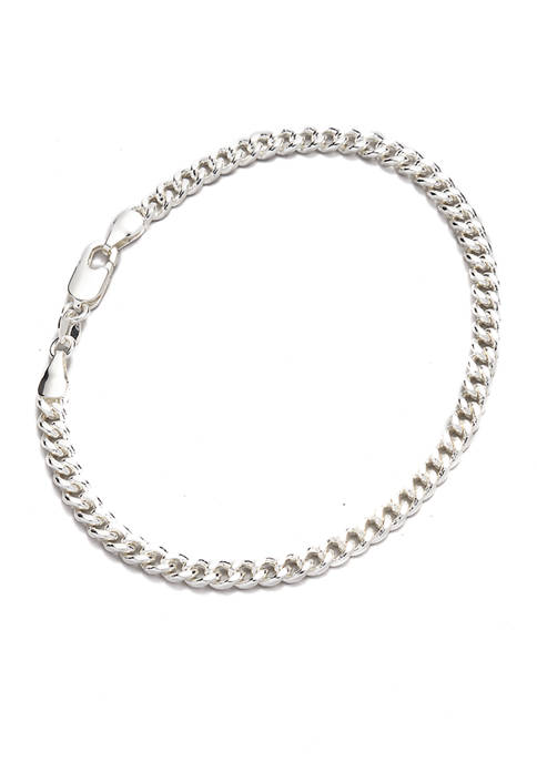 8 Inch Fine Silver Plated Curb Chain Bracelet