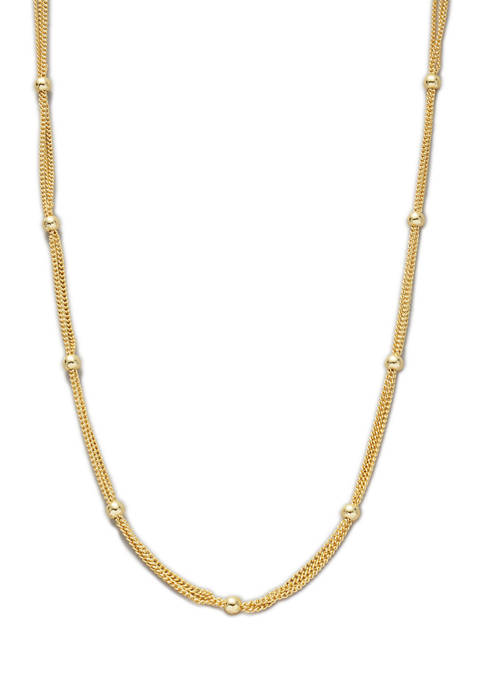 24 Inch Gold Tone Beaded Chain Necklace