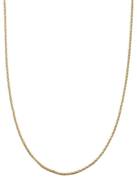 20 Inch Gold Tone Diamond Cut Rope Chain Necklace