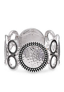 Silver-Tone Going In Circles Stretch Bracelet
