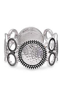 Jules B Silver-Tone Going In Circles Stretch Bracelet