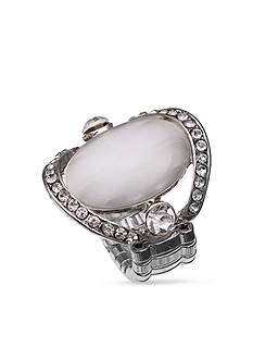Jules B Silver-Tone White Cateye Crystal Stretch Ring