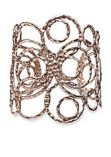 Gold Tone Going In Circles Cuff Bracelet