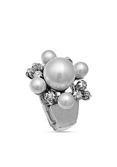 Jules B Rings Silver Tone Pearl Crystal Cluster Stretchable Ring