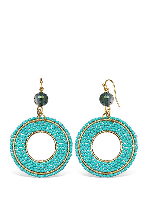 Beaded Ring Drop Earrings