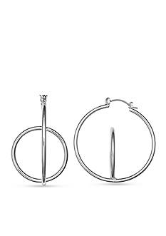 Jules B Silver Tone Going In Circles Orbit Hoop Earrings