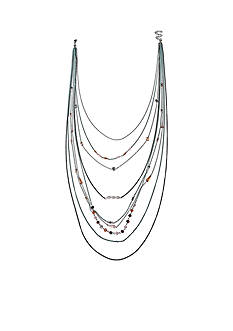 Jules B Silver-Tone Swag Tonal Blue Multi Row Chain Necklace