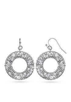 Jules B Silver-Tone Snow White Ring Drop Earrings