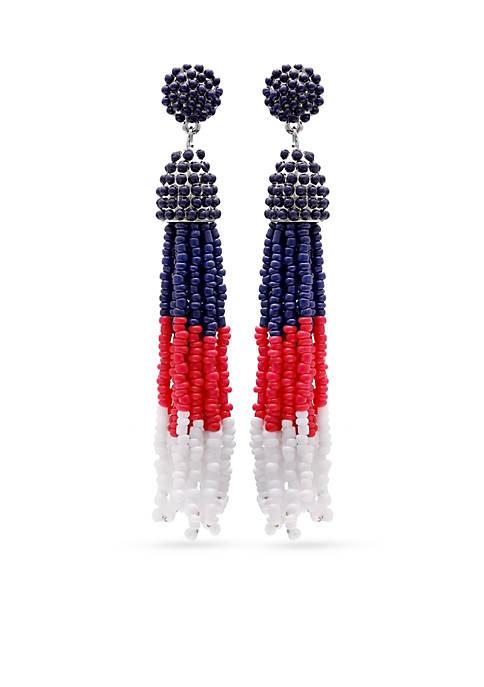 Silver-Tone Fireworks Tassel Drop Earrings