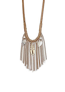 Gold-Tone Sandman Fringe Frontal Shirt Necklace