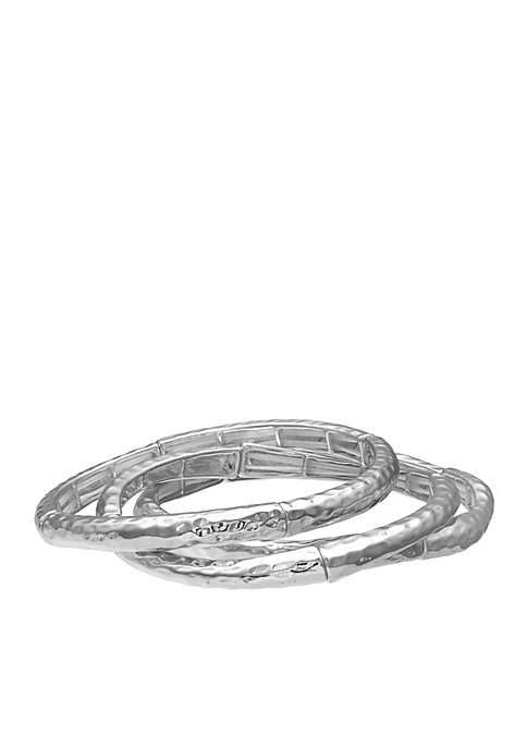 Silver-Tone 3-Piece Hammered Stretch Bangles Set