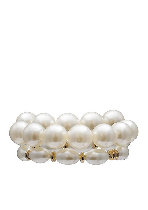 Jules B Gold-Tone Pearls of Wisdom Double Row