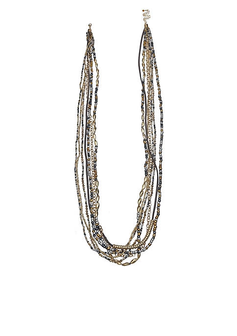 Jules B Gold-Tone 14k Gray 7-Row Beaded Long