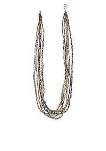 Gold-Tone 14k Gray 7-Row Beaded Long Chain Necklace