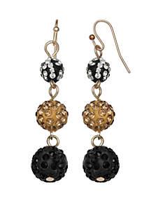 Gold-Tone Triple Drop Earrings