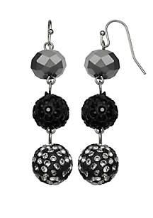 Silver-Tone Triple Ball Drop Earrings