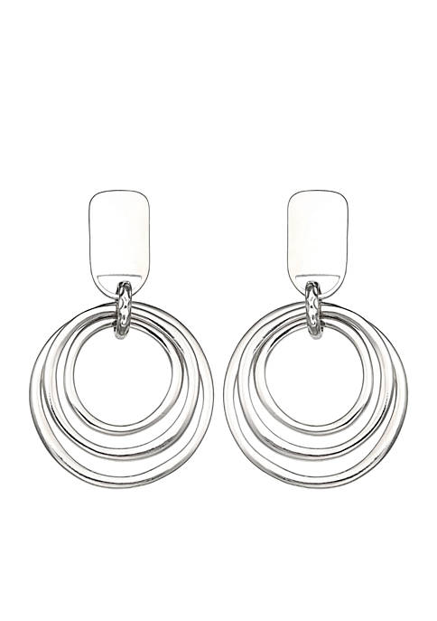 Jules B Silver-Tone Clip Long Hoop Drop Earrings