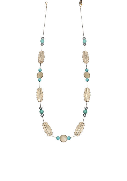 Jules B Gold-Tone Leaf Beaded Long Chain Necklace