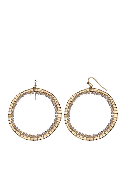 Jules B Gold-Tone Sandman Beaded Wrap Hoop Drop
