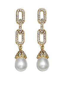 Gold-Tone Pearls of Wisdom Chain Link Pearl Drop Earrings