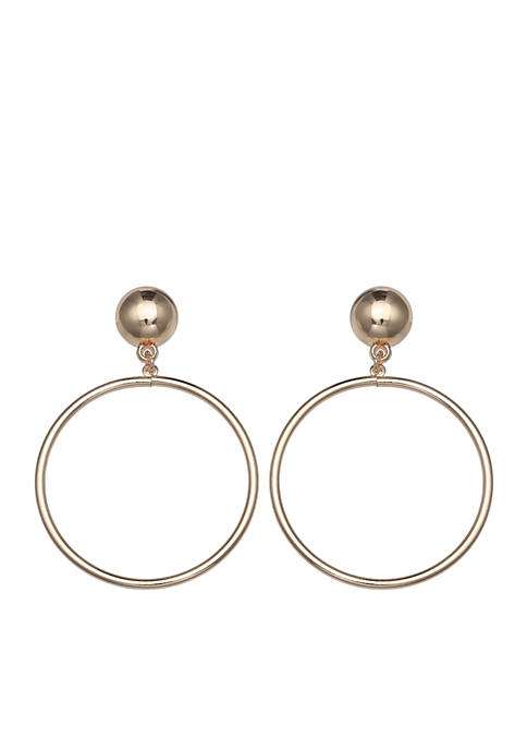 Jules B Gold-Tone Ring Drop Earrings
