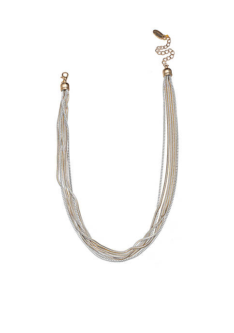 Jules B Gold-Tone Color Shine White Chain Necklace