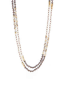Gold-Tone Multi Bead Rope Necklace