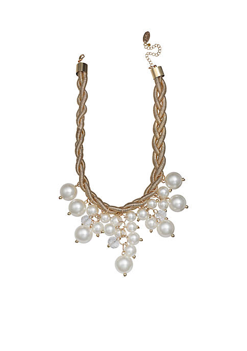 Jules B Gold-Tone Pearls of Wisdom Frontal Necklace